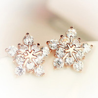 Women's Gold Plated Crystal Snowflake Earrings