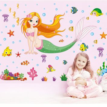 Cute Cartoon Mermaid Wall Stickers Kids Nursery Decoration Wall Decals