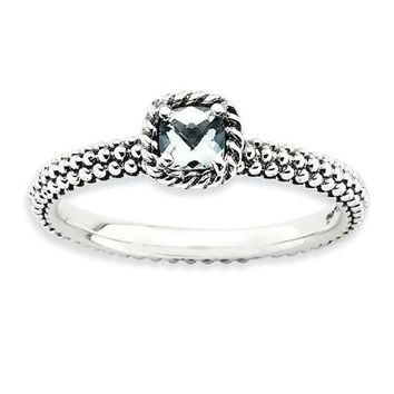 Sterling Silver Stackable Expressions Checker-Cut Aquamarine Antiqued Ring