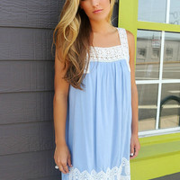 Find Your Way Light Blue Lace Detail Sundress