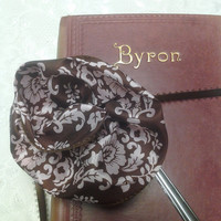 Pink and Brown Fabric Flower Ribbon Large Silver Bookmark with Brown Accent Ribbon