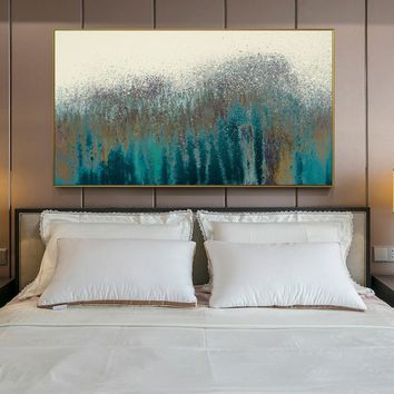 Turquoise Abstract Wall Art Canvas Prints Vintage Poster Modern Abstract Canvas Paintings On The Wall For Bed Room Cuadros Decor