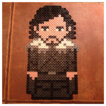 Jon Snow Large Perler Art / Magnet Game of Thrones by K8BitHero
