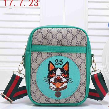 GUCCI 2018 Women's Exquisite Stylish Cartoon Printed Leather Backpack F-RF-PJ green