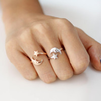 Crescent Moon Adjustable rings - available color as listed( Gold, Silver, Pink Gold)