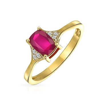 2.5CT Solitaire Emerald Cut Red Ruby Zircon Ring 14K Plated 925 Silver