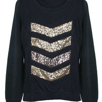 Gold Vortex Sweater | Black Sequin Long-Sleeve Knit Tops | RicketyRack.com