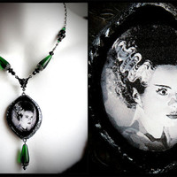 The Bride of Frankenstein, classic monster, vintage horror, Halloween necklace, gothic jewelry, Victorian, psychobilly, green, spooky, black