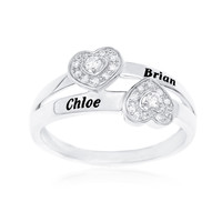 DIAMOND 1/8 CARAT PROMISE RING WITH TWO HEARTS - STERLING SILVER