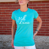 Hello Dearie (Once Upon a Time, Rumpelstiltskin) Women's T-Shirt. Black, Ash, Leaf Green, or Teal