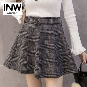 2018 Autumn Winter Wool Skirt Femme Fashion Plaid Women Skirts Pleated High Waist Skirt Female Casual Checkered Falda Mujer