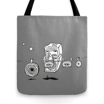 Men gift, grey tote bag, musician gift, photo tote, canvas bag, beach bag, market bag, MEDIUM, music, stereo, funny, cute, cassette, record