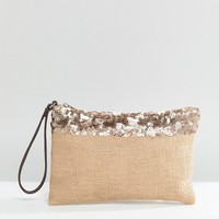 South Beach Jute Clutch with Metallic Trim and Zip at asos.com