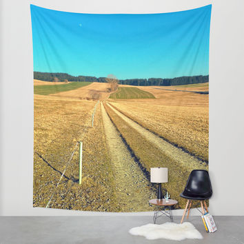 Hiking trail, blue sky and moon | landscape photography Wall Tapestry by Patrick Jobst | Society6