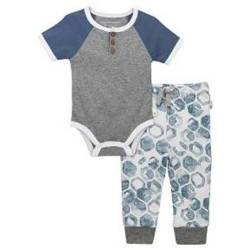 Baby Boys' Raglan Henley Bodysuit and Pant Set Heather Grey - Burt's Bees Baby ®