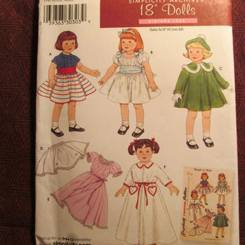 "Sale Uncut Simplicity Sewing Pattern, 3929! 18"" Vintage Style Doll Clothes/Blouses/Skirts/Dress/Cummerbund & Bow/Coat/Hats/Night Gown/Pettic"