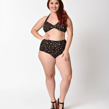 Esther Williams Plus Size Retro Ditsy Floral High Waist Swim Bottom