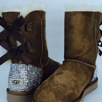Custom Bailey Bow UGG Boots made with Swarovski Bailey Bow Free: Shipping, Repair Kit, Cleaning Kit, Crystal Color, 48 hr Turnaround