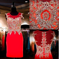 Red Homecoming Dress Sheath Gold Lace Appliqued Short Prom Dress APD1602 from DiyDressonline