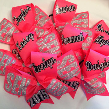 "Senior offset bow 2016, 2017, 2018 etc personalized basic cheer bow 3"" ribbon with name"