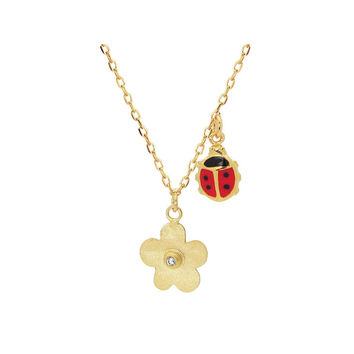 Girls 14k Gold Plated Silver Hammered Flower and Lady Bug Necklace