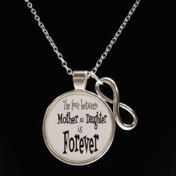 Infinity Love Between Mother And Daughter Is Forever Quote Necklace