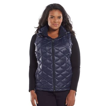 Tek Gear Hooded Packable Quilted Puffer Vest - Women's Plus Size, Size:
