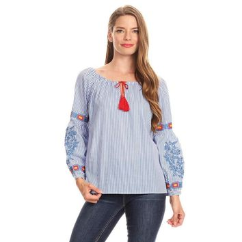 Blue Pinstripe Embroidery Peasant Top