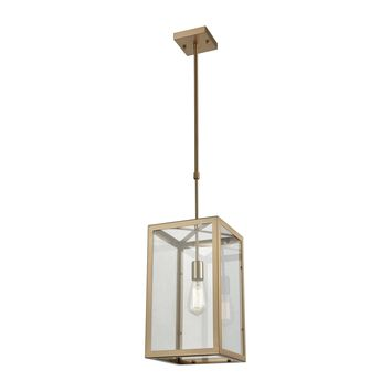 63081-1 Parameters 1 Light Chandelier In Satin Brass With Clear Glass