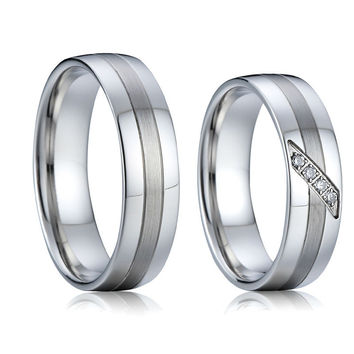 pure silver white gold color health titanium steel jewelry engagement wedding bands couple rings sets for men and women