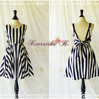 A Party Dress V Shape Navy/Off White Stripe Backless Dress Prom Party Dress Wedding Bridesmaid Dress Cocktail Dress Navy Dress Custom Made