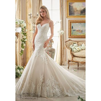 Mori Lee 2871 Low Back Fit and Flare Sample Sale Wedding Dress