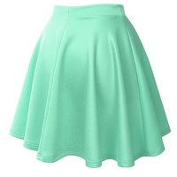 LE3NO Womens Casual Versatile Stretchy Flared Skater Skirt