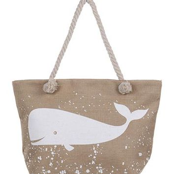 Whale Print Natural Tote Bag