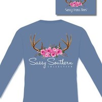 """Sassy Frass Long Sleeve - """"Antlers & Roses"""" on a Comfort Colors"""