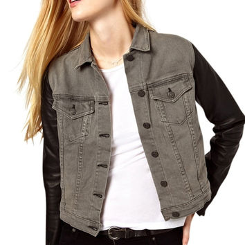 Rag & Bone Denim Leather Sleeve Black/Gray Jean Jacket