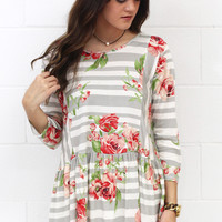 Perfect Mix Stripes + Floral Relaxed Peplum {Grey}