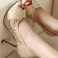 Korean lace hollow out waterproof platform high heels from bebpillo