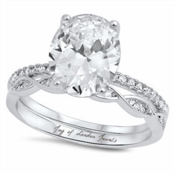 SALE     A Perfect 3.5CT Oval Cut Russian Lab Diamond Bridal Set Wedding Band Ring