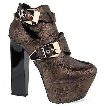 Monte17a By Qupid, Women Chunky High Heel Buckle Cut Out Platform Ankle Bootie