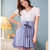 Women Chiffon And Cotton V-Neck Short Sleeve Pleating Fitting White Dress M/L@MF3415w - $23.18 : DressLoves.com.