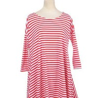 Anna-Kaci Free Size Red White Long Sleeve Candy Cane Striped Flowy Dress