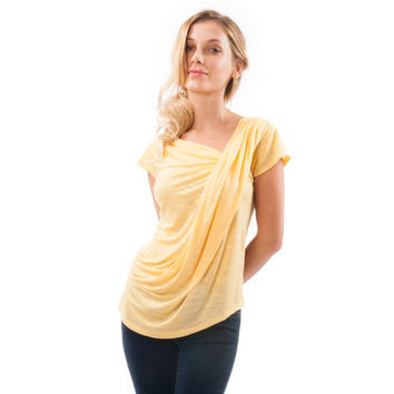 Perfect Summer Top,  Short Sleeve Colorful Shirt, Women Blouse. Colors available: Yellow, Turquoise,