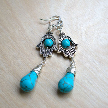 Turquoise Earrings, Hamsa Hand Earrings, Boho Fashion, Fatima Hand, Hippie Bohemian Earrings, Dangle Earrings, Wire Wrapped Briolette