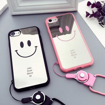 Mirror Smile Mobile Phone Case for Apple iphone 7 case Cute Couple Phone Case for iPhone 7pius 6plus 6s TPU Lanyard Phone Case