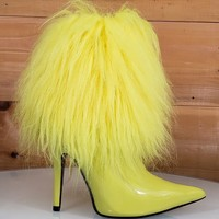 """Cape Yellow Patent Furry Ankle Boot Pointy Toe  4.5"""" High Heel  6 - 11"""