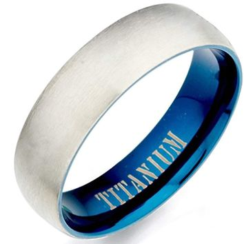 CERTIFIED 7mm Men's Blue Two Tone Matte & Polish Anniversary Titanium Wedding Ring