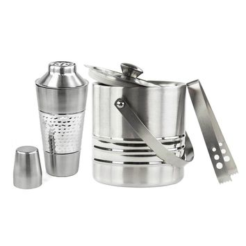 Stainless Steel 25-ounce Cocktail Shaker and 3 Qt Ice Bucket Set (Color: Silver)