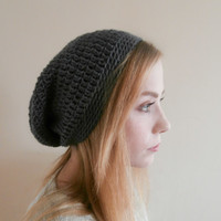 Fall Sale Silver Grey Slouchy Beanie womens, teens, mens beanie, hipster beanie, grunge beanie, ready to ship