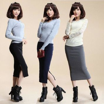 DCCKHY9 2016 Autumn Winter Women Skirt Wool Rib Knit Long Skirt Faldas Package Hip Split Skirts  A919
